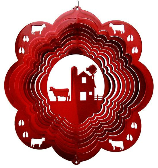 12 INCH COW AND BARN RED WIND SPINNER