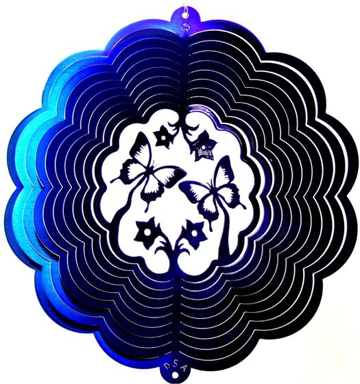 12 INCH SINGLE BUTTERFLY 3D BLUE & PURPLE WIND SPINNER