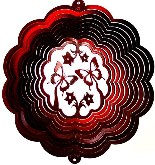 12 INCH SINGLE BUTTERFLY 3D RED WIND SPINNER