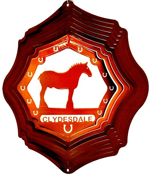 12 INCH CLYDESDALE HORSE COPPER WIND SPINNER