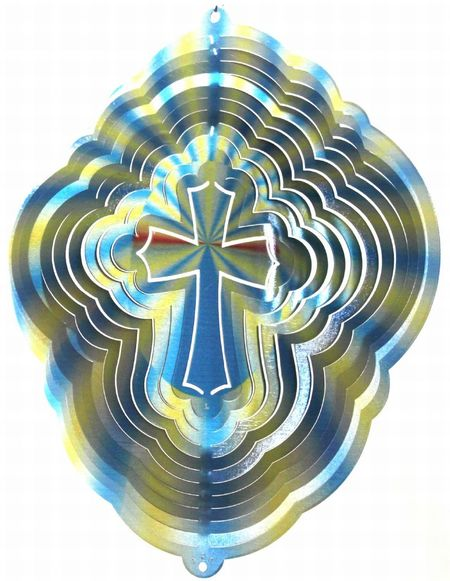 12 INCH CROSS PRINTED WIND SPINNER