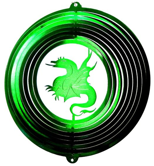 12 INCH DRAGON GREEN WIND SPINNER