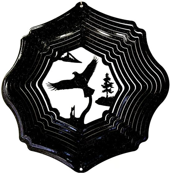 12 INCH EAGLE 3D BLACK WIND SPINNER