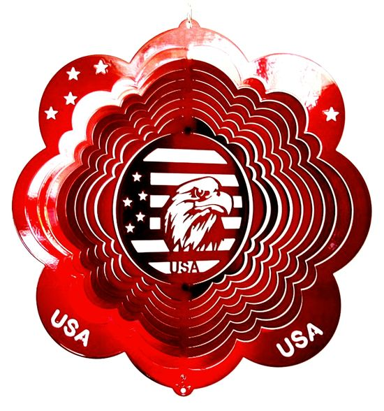 12 INCH EAGLES HEAD RED WIND SPINNER