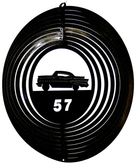 12 INCH BLACK 57 CHEVY WIND SPINNER