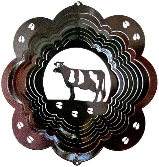 12 INCH HOLSTEIN COW BLACK WIND SPINNER