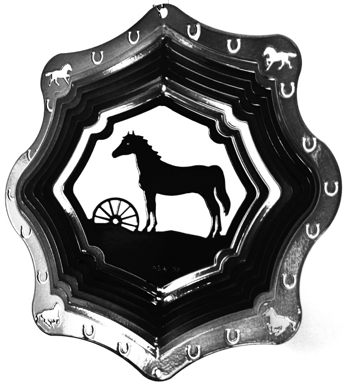 12 INCH HORSE AND WHEEL BLACK WIND SPINNER
