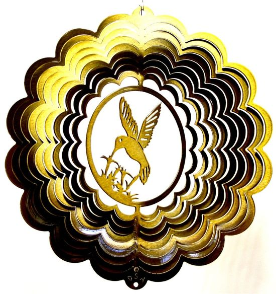 12 INCH HUMMINGBIRD 3D BRASS WIND SPINNER