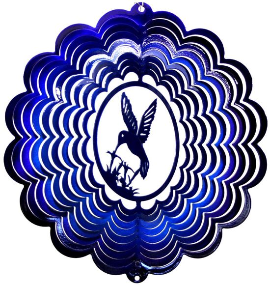 12 INCH HUMMINGBIRD 3D BLUE & PURPLE WIND SPINNER
