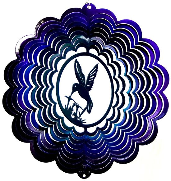 12 INCH HUMMINGBIRD 3D TEAL & PURPLE WIND SPINNER