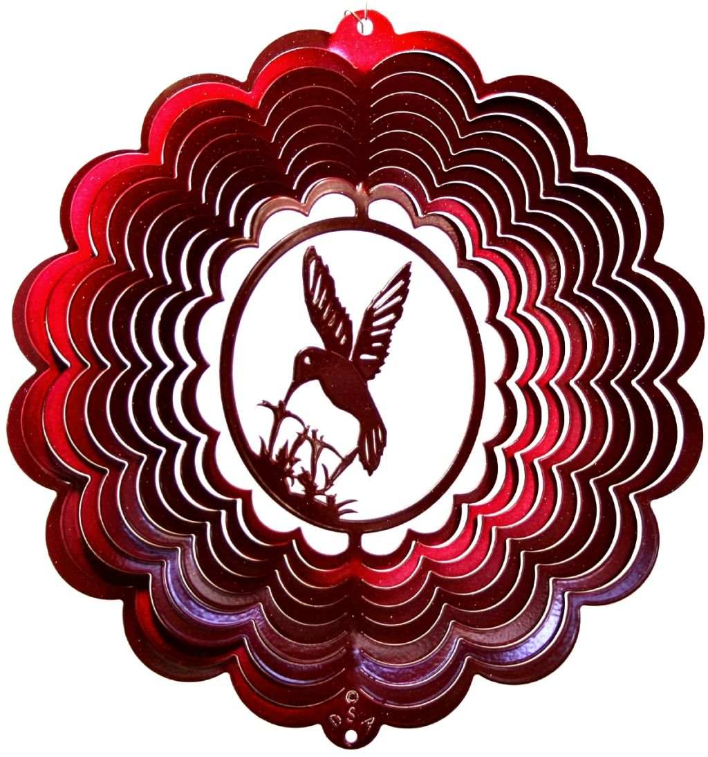 12 INCH HUMMINGBIRD 3D RED WIND SPINNER