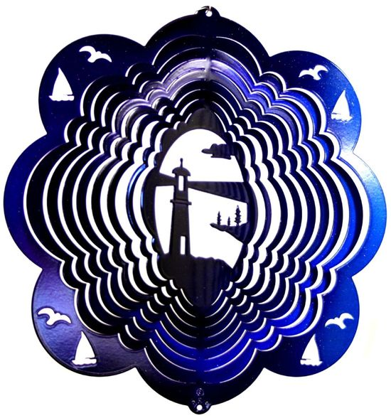 12 INCH LIGHTHOUSE BLUE & PURPLE WIND SPINNER