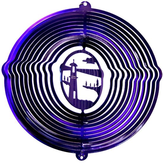 12 INCH LIGHTHOUSE PURPLE WIND SPINNER