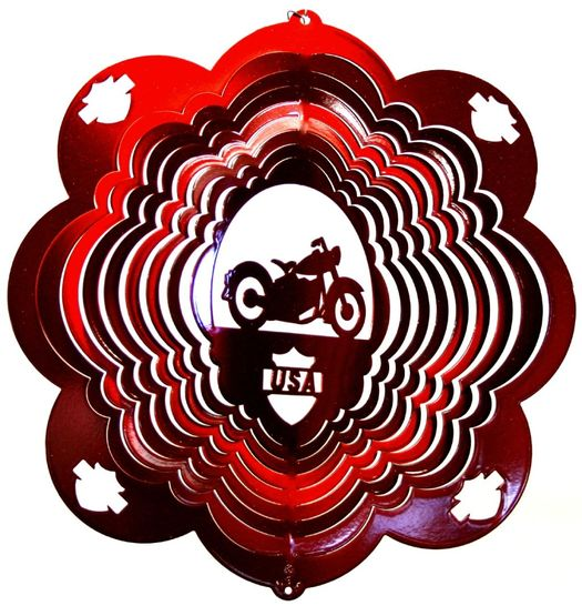 12 INCH MOTORCYCLE RED WIND SPINNER