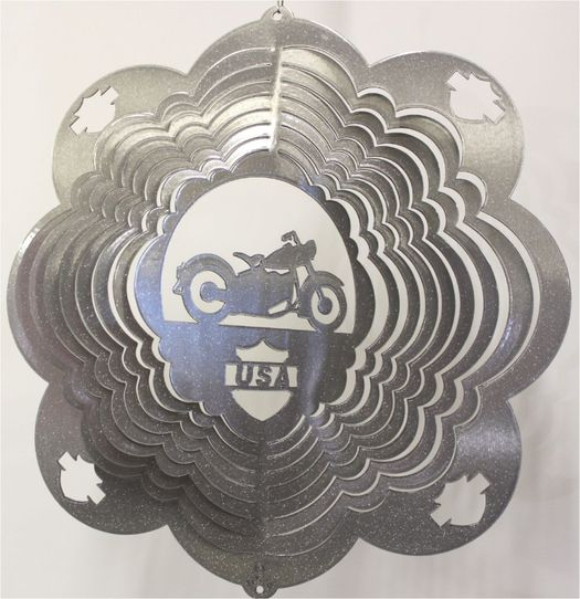 12 INCH MOTORCYCLE SILVER WIND SPINNER
