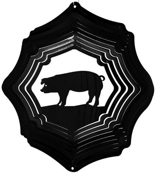 12 INCH PIG BLACK WIND SPINNER