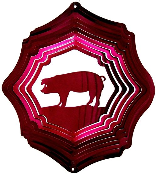 12 INCH PIG RASPBERRY WIND SPINNER