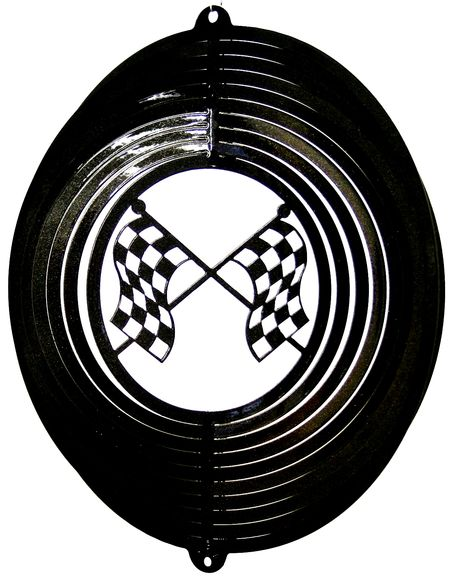 12 INCH BLACK RACING FLAGS WIND SPINNER