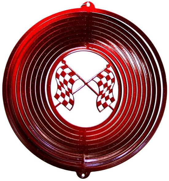 12 INCH RED RACING FLAGS WIND SPINNER