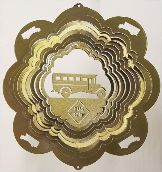 12 INCH SCHOOL BUS BRASS WIND SPINNER