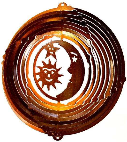 12 INCH SUN MOON STAR COPPER WIND SPINNER