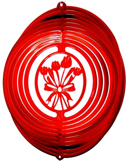 12 INCH TULIPS RED WIND SPINNER