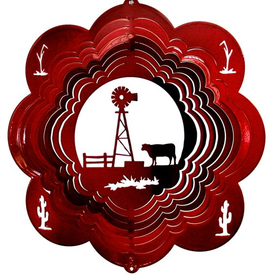 12 INCH COW & WINDMILL RED WIND SPINNER