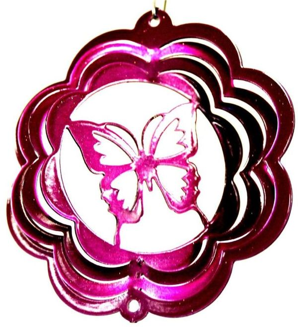 Butterfly 4 Inch Mini Wind Spinner Raspberry