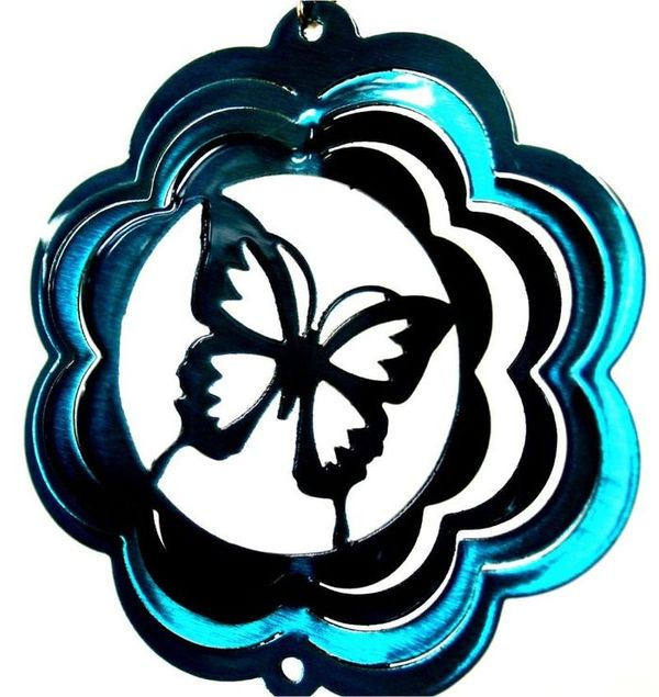 Butterfly 4 Inch Mini Wind Spinner Teal