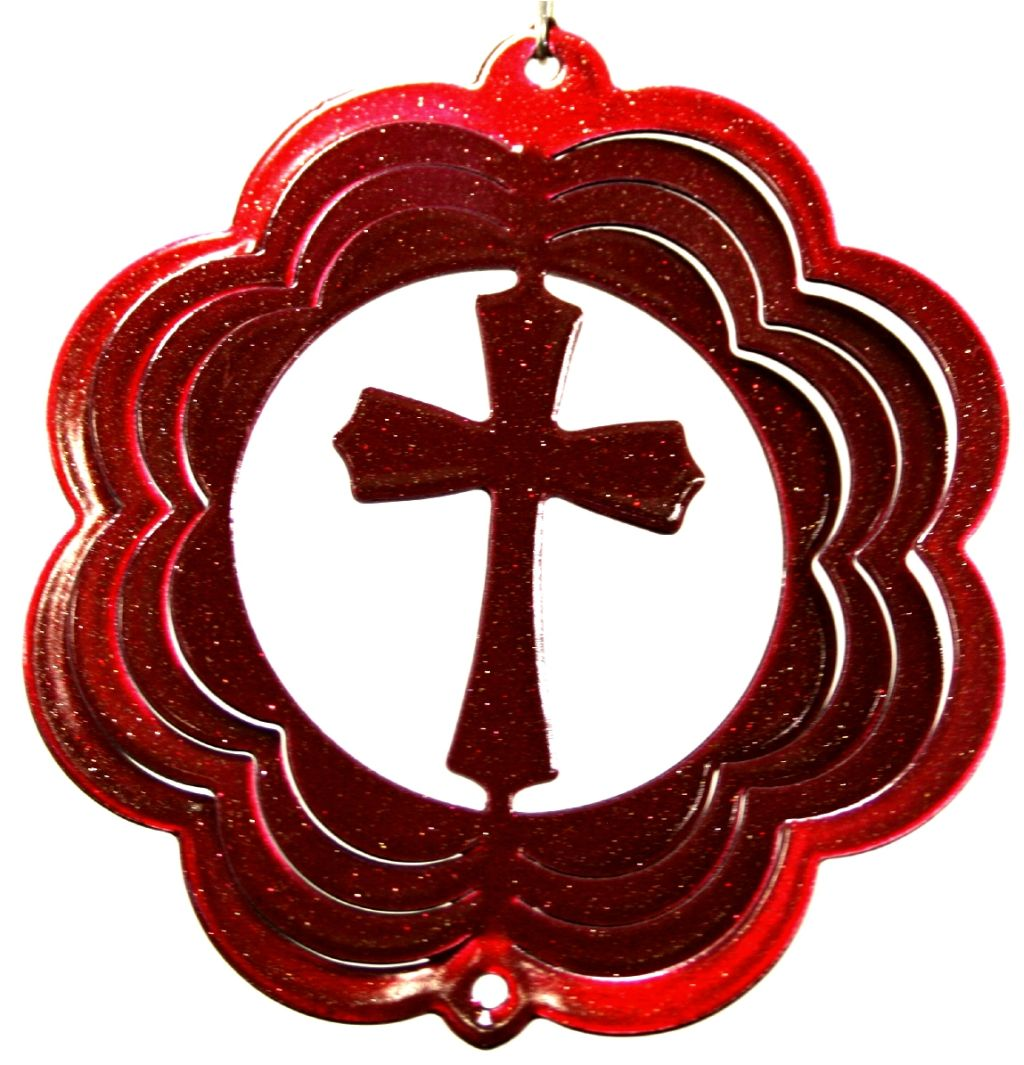 Cross 4 Inch Red Mini Wind Spinner