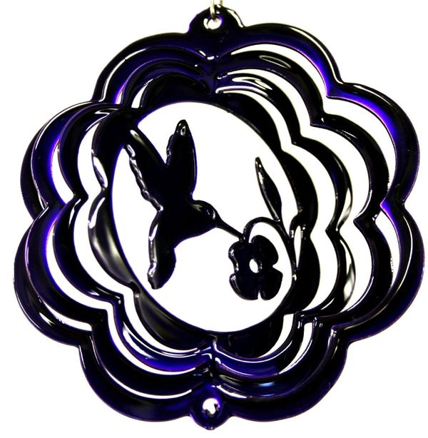Hummingbird 4 Inch Purple Mini Wind Spinner