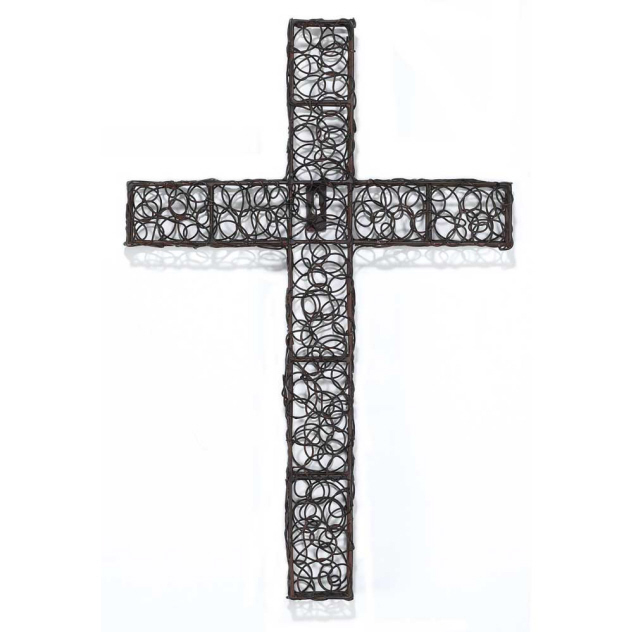 "CROSS WALL METAL 18"" RUST"