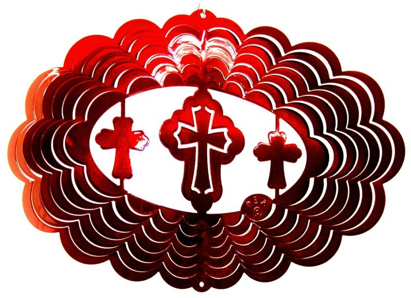 12 Inch Oval Cross Red Wind Spinner