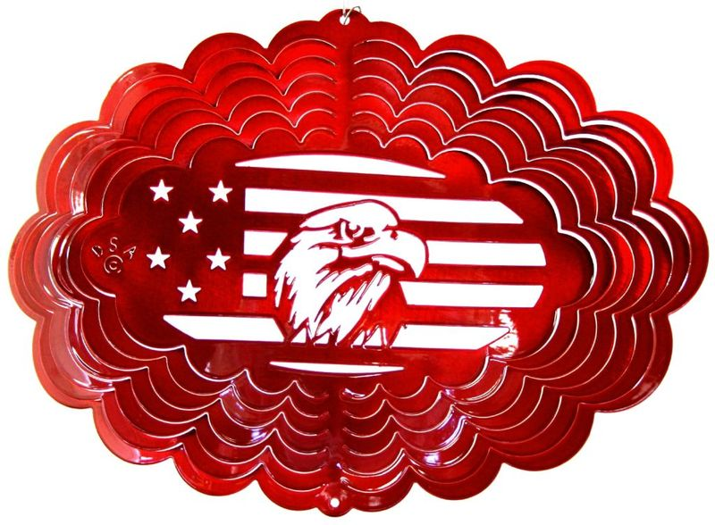 12 Inch Oval Eagle Head Red Wind Spinner
