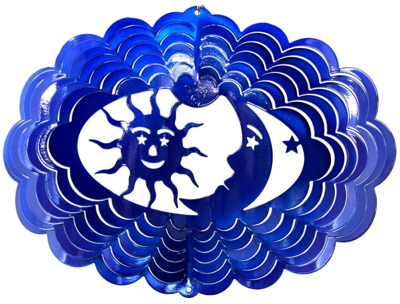 12 Inch Oval Sun Moon & Stars Blue Wind Spinner