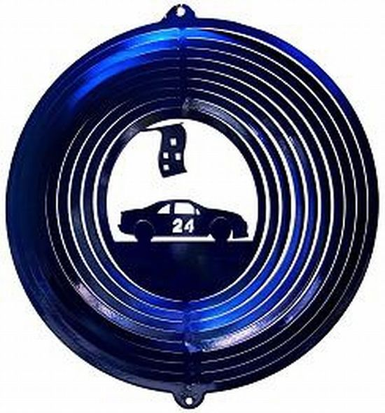 12 INCH BLUE RACE CAR #24 WIND SPINNER