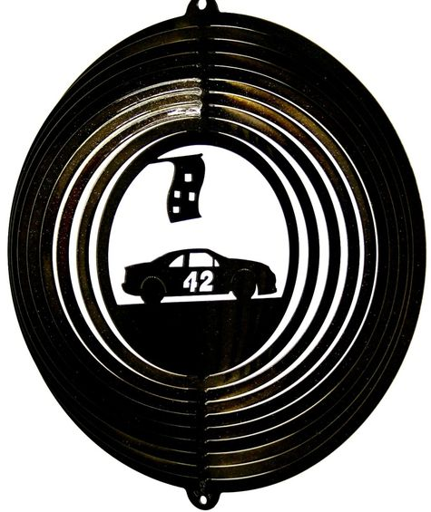 12 INCH BLACK RACE CAR #42 WIND SPINNER