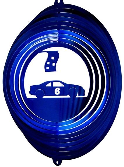 12 INCH BLUE RACE CAR #6 WIND SPINNER