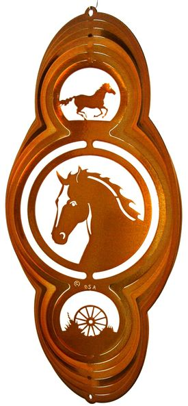 16 Inch Horse Theme Copper Wind Spinner