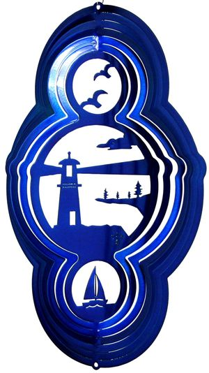 16 Inch Light House Theme Blue Wind Spinner