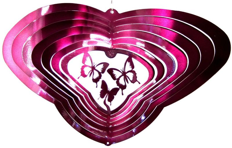 "12 "" Winged Butterfly Raspberry Wind Spinner"