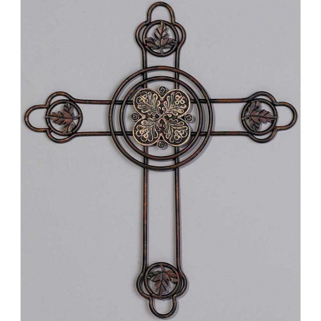 WIRE CROSS WITH LEAVES IN A CIRCLE