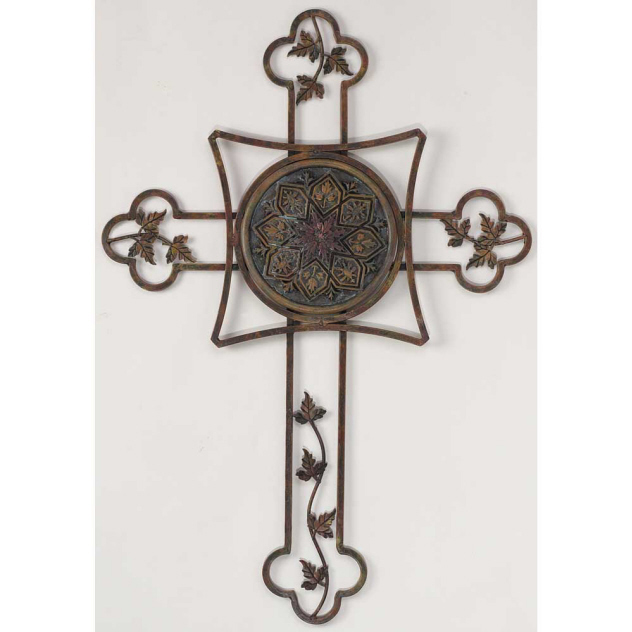 ANTIQUE CROSS BUDDED WITH SMALL LEAVES