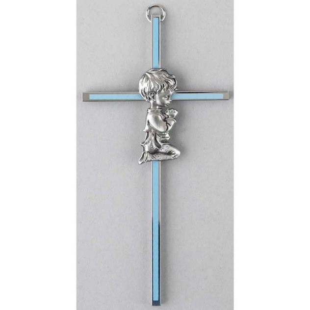 Boy on Metal Cross with Blue Inlay