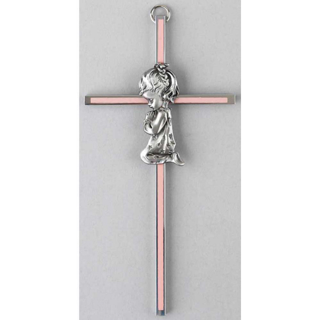 Girl on Metal Cross with Pink Inlay