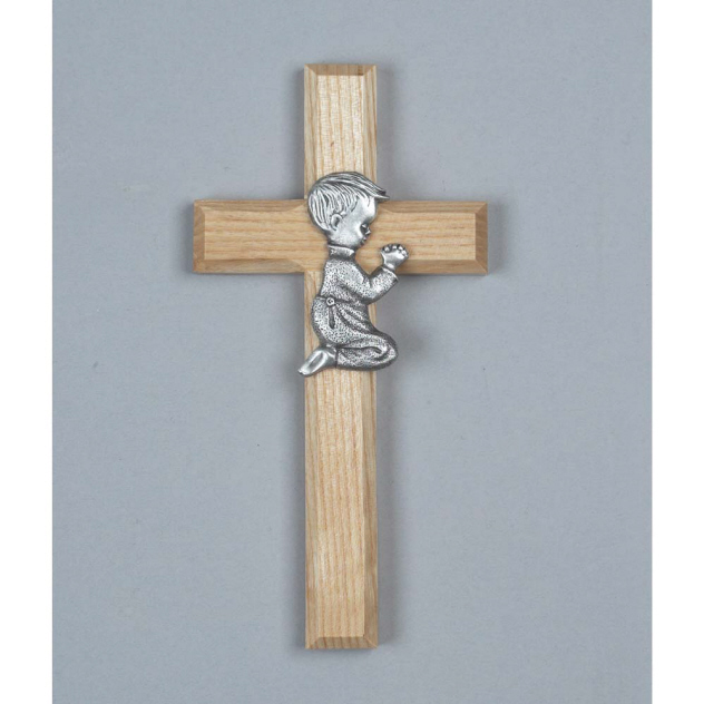 Wood Cross with Pewter Boy