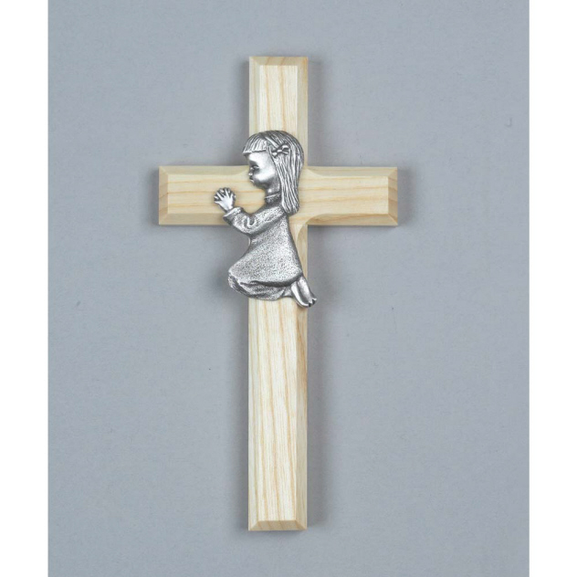 Wood Cross with Pewter Girl