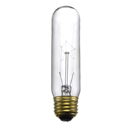 Tubular Light Bulb, Standard Base, clear, (T-10)