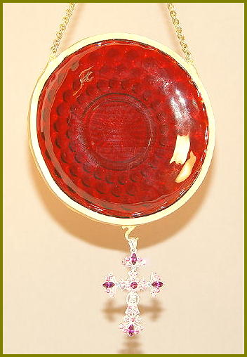 Ruby Red Glass Plate with Cross & chain