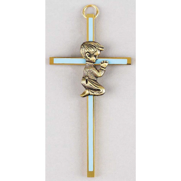 Praying Boy On Gold Cross with Blue Insert